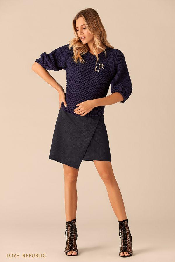 Джемпер тёмно-синего цвета с широкими рукавами реглан 0151637856-47