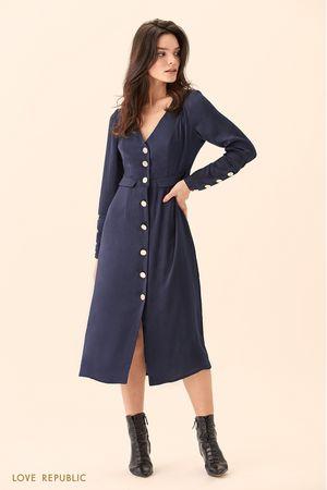 Платье миди тёмно-синего цвета на пуговицах фото