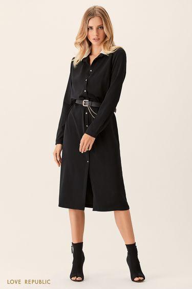 Платье-рубашка с контрастным воротничком 0151752512