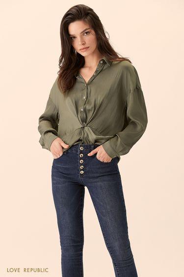 Рубашка цвета хаки с узлом на талии 01517540312