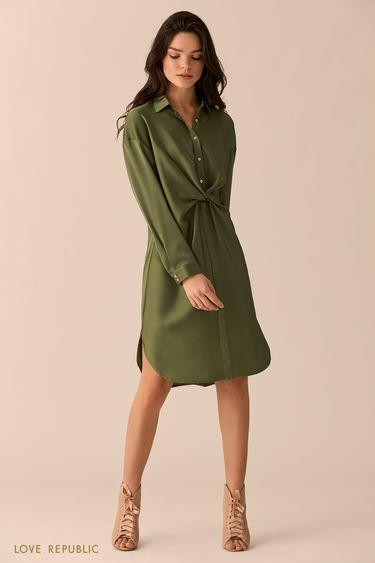 Платье-рубашка цвета хаки с драпировкой на поясе 0151755514