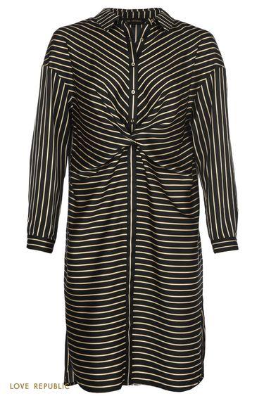 Платье-рубашка с драпировкой на поясе и чёрно-белым принтом 0151755514