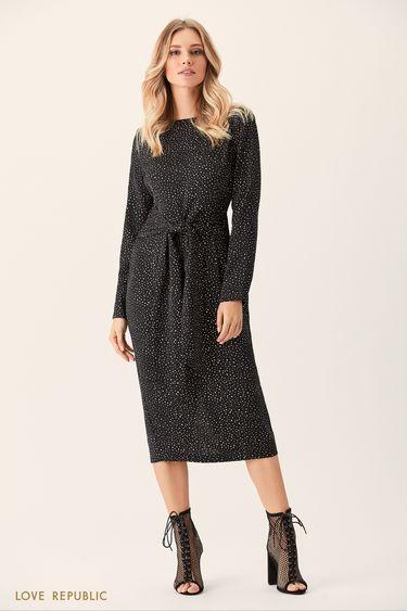 Облегающее платье миди с принтом из горошин 0151756515