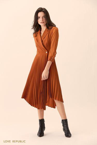 Платье кирпичного цвета с плиссированной юбкой 01517610540