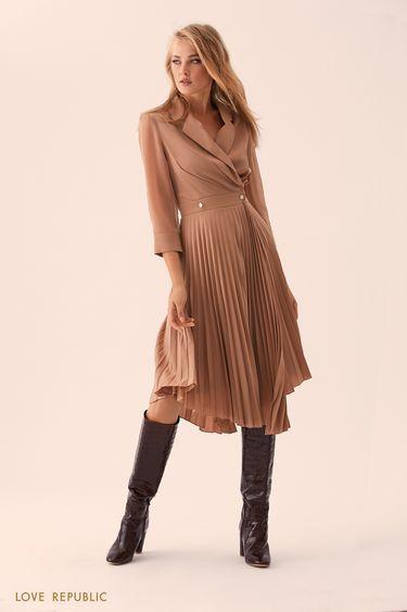 Платье песочного цвета с плиссированной юбкой 01517610540