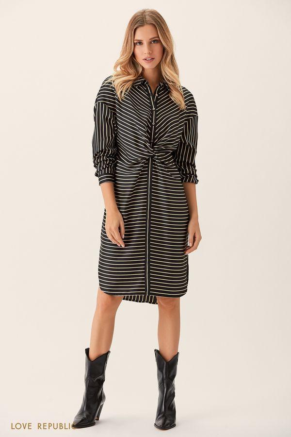 Платье-рубашка цвета хаки с драпировкой на поясе 0151755514-13