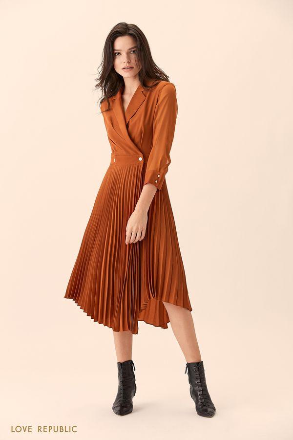 Платье кирпичного цвета с плиссированной юбкой 01517610540-21