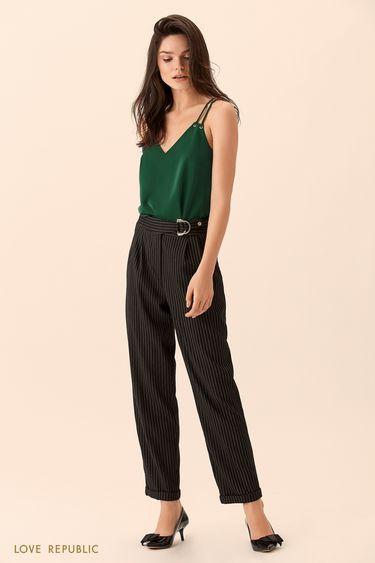 Прямые брюки из тёмной ткани с принтом 0151812701