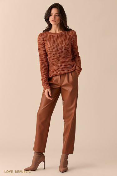 Укороченные брюки из гладкой экокожи  0151813702