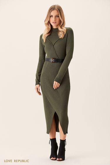 Трикотажное платье цвета хаки с рельефными швами 0151884516