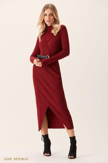 Трикотажное платье вишнёвого цвета с рельефными швами 0151884516
