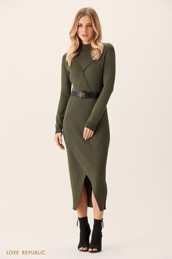 Трикотажное платье вишнёвого цвета с рельефными швами 0151884516-76