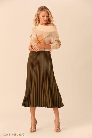 Плиссированная юбка цвета хаки с эластичным поясом