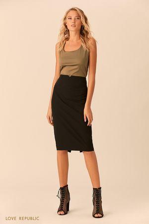 Чёрная юбка-карандаш миди накокетке