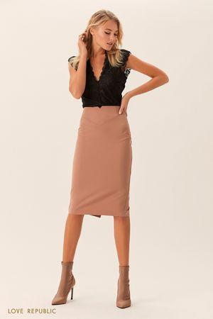 Бежевая юбка-карандаш миди накокетке