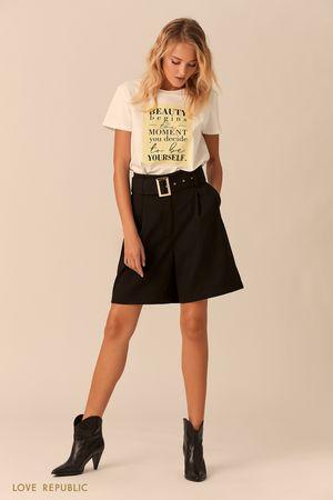 Чёрные шорты-бермуды с поясом фото