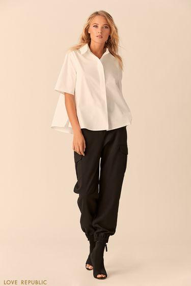 Хлопковая рубашка белого цвета с разрезами 0152003313
