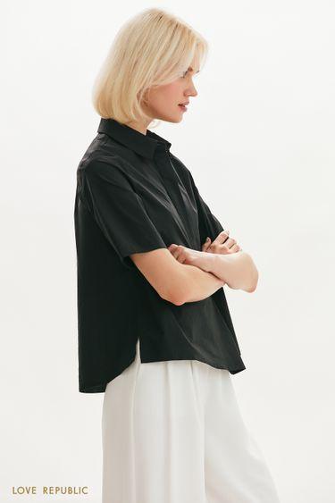 Хлопковая рубашка чёрного цвета с разрезами 0152003313
