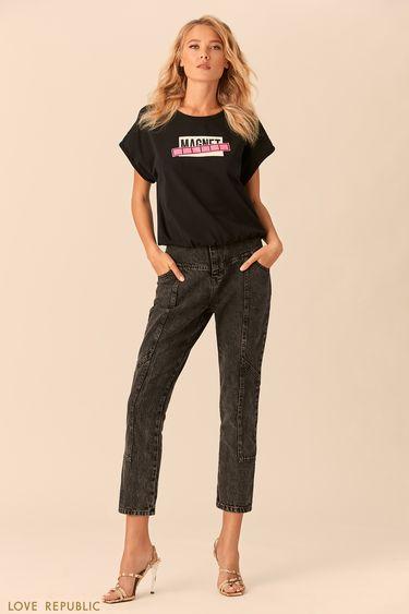 Короткая чёрная футболка с широкими рукавами 0152005318