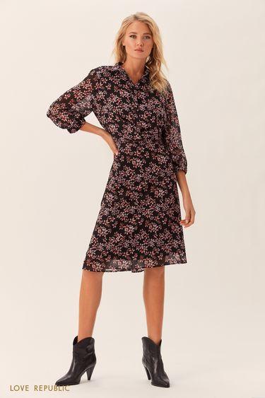 Платье-рубашка с розовым цветочным принтом 0152009559
