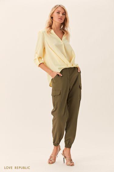 Жёлтая рубашка с присборенной кокеткой 0152018340