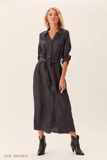 Длинное серое платье-рубашка с поясом 0152025553