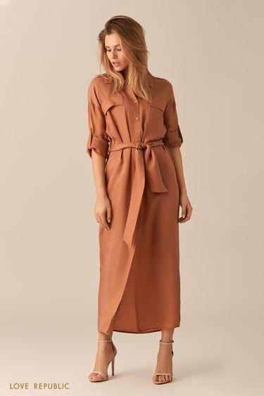 Длинное бежевое платье-рубашка с поясом 0152025553