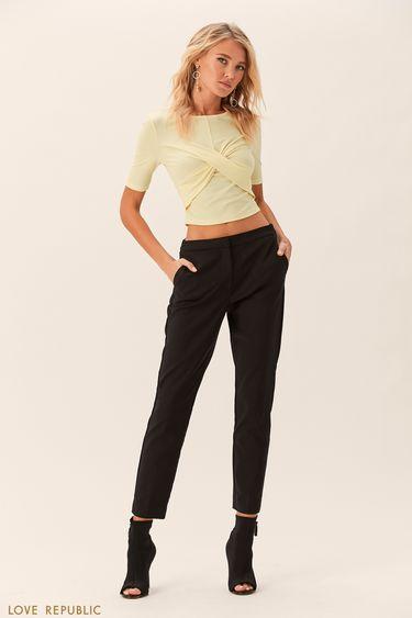 Прямые чёрные брюки из гладкого хлопка 0152063713