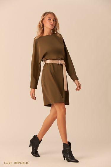 Оливковое платье с длинным поясом 0152065517