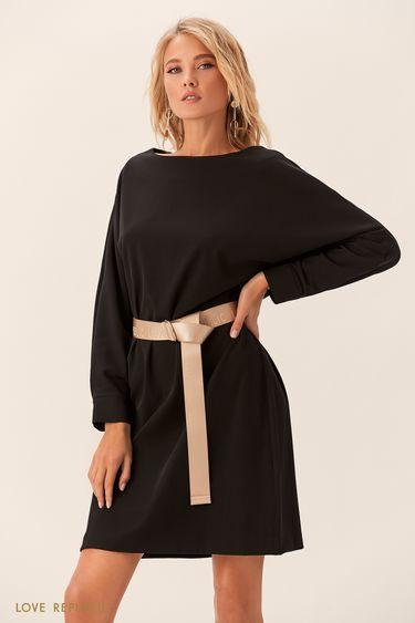Чёрное платье с длинным поясом 0152065517