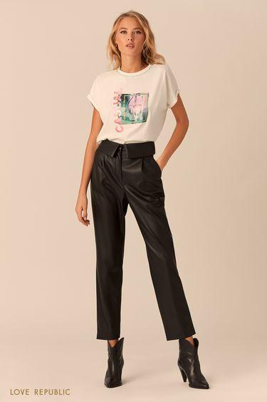 Чёрные брюки с отворотом на поясе 0152068714