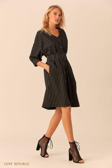 Платье на пуговицах с принтом из полос 0152069515