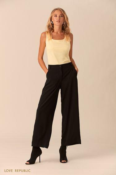 Широкие чёрные брюки из гладкой ткани 0152071719