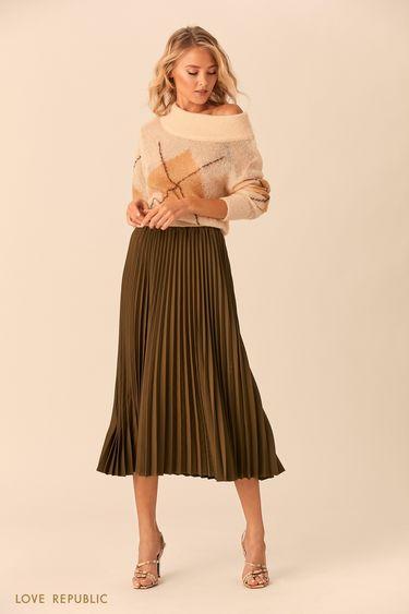 Плиссированная юбка цвета хаки с эластичным поясом 0152074216