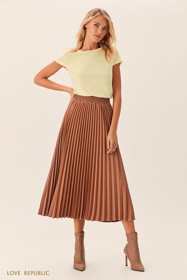 Плиссированная юбка бежевого цвета с эластичным поясом 0152074216