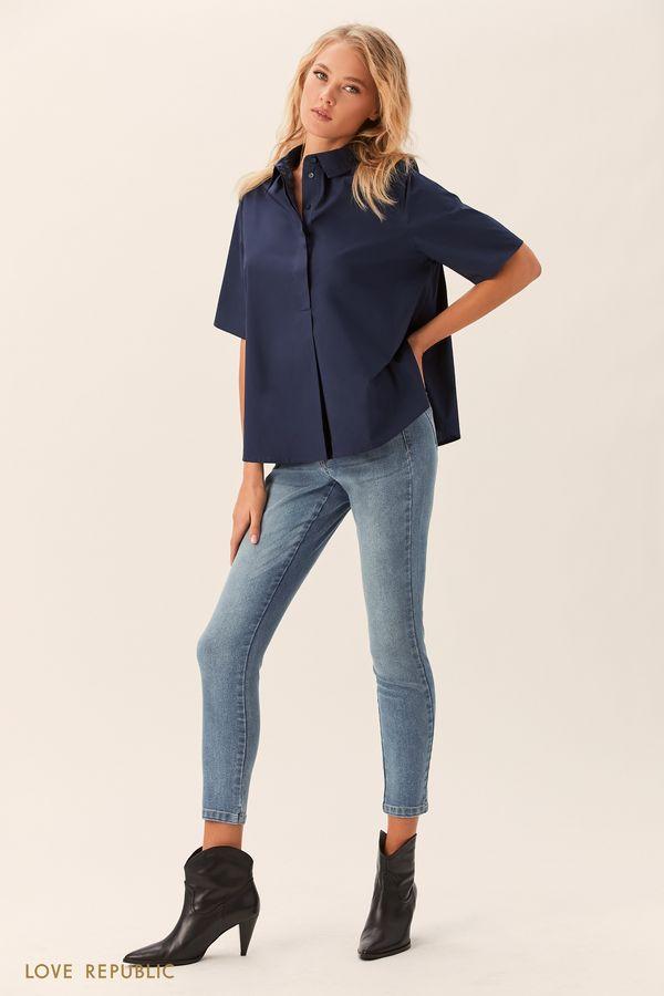 Хлопковая рубашка цвета индиго с короткими рукавами 01520030313-48