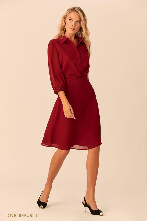 Вишнёвое платье с прозрачными рукавами и узлом на талии 01520090559-76