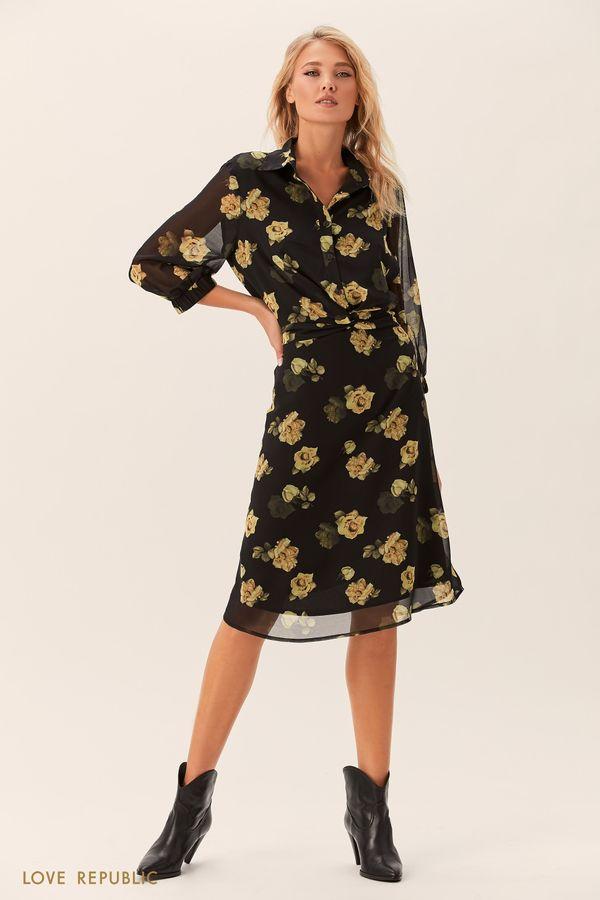 Платье-рубашка с бежевым цветочным принтом 0152009559-65