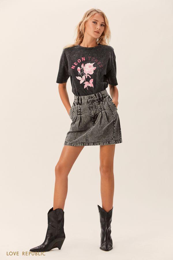 Хлопковая футболка с чёрным принтом 0152012332-55
