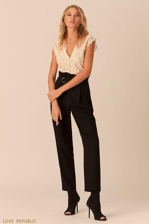 Кружевная блузка без рукавов кремового цвета 0152014335-61