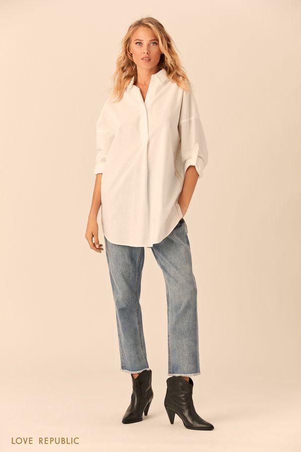Длинная белая рубашка с заниженным плечом 0152023329-1