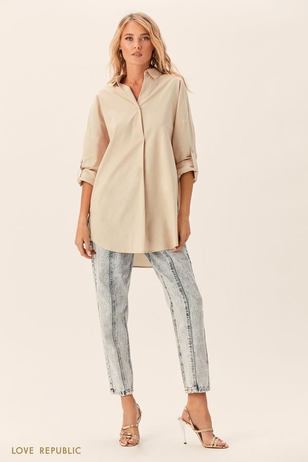 Длинная кремовая рубашка с заниженным плечом 0152023329-61