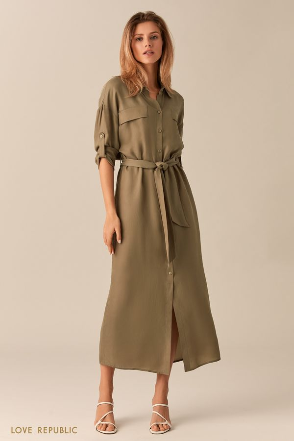 Длинное серое платье-рубашка с поясом 0152025553-32