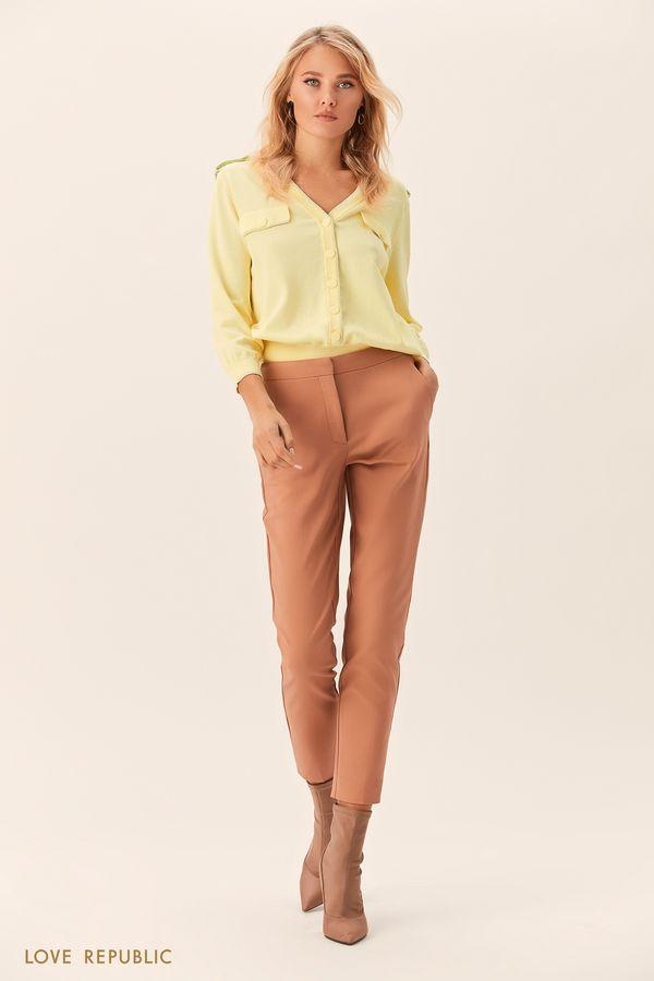 Прямые бежевые брюки из гладкого хлопка 0152063713-62