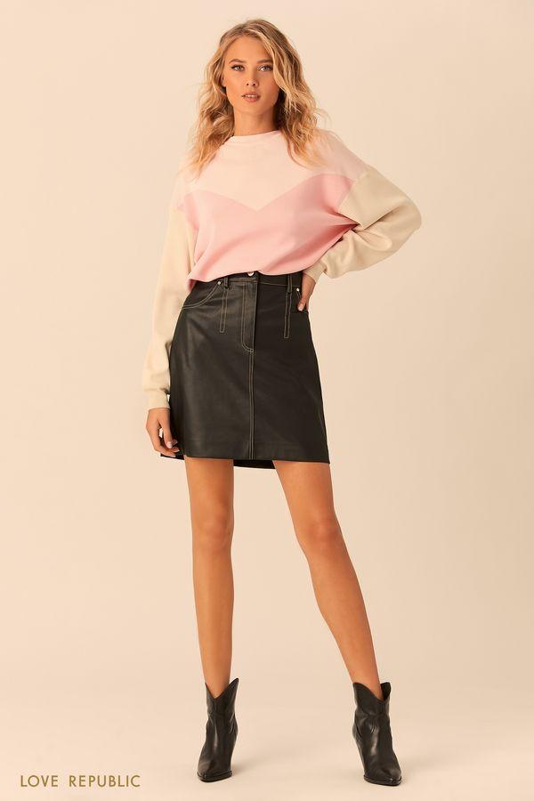 Чёрная мини-юбка из искусственной кожи 0152068215-50