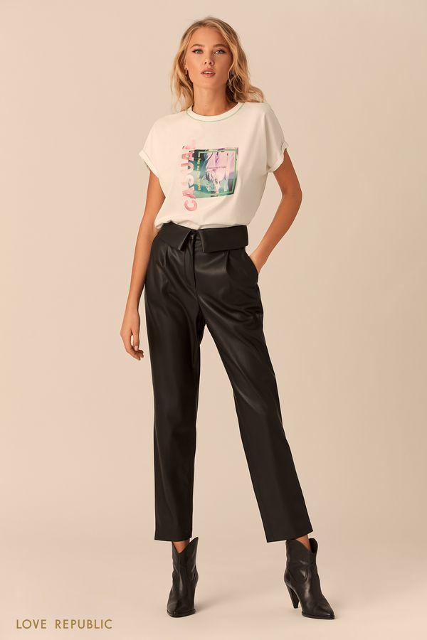Бежевые брюки с отворотом на поясе 0152068714-62