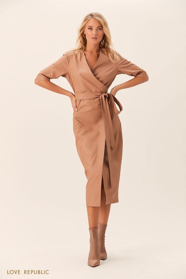 Платье на запахе из искусственной кожи цвета хаки 0152072518-13