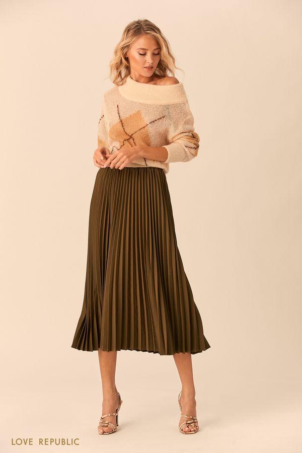 Плиссированная юбка чёрного цвета с эластичным поясом 0152074216-50