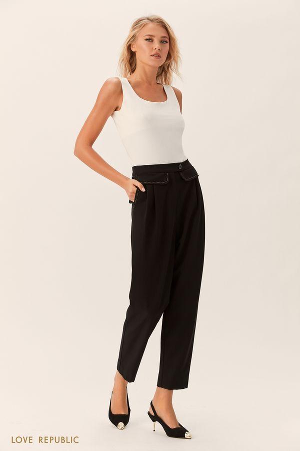 Укороченные брюки с накладными деталями 0152079743-50