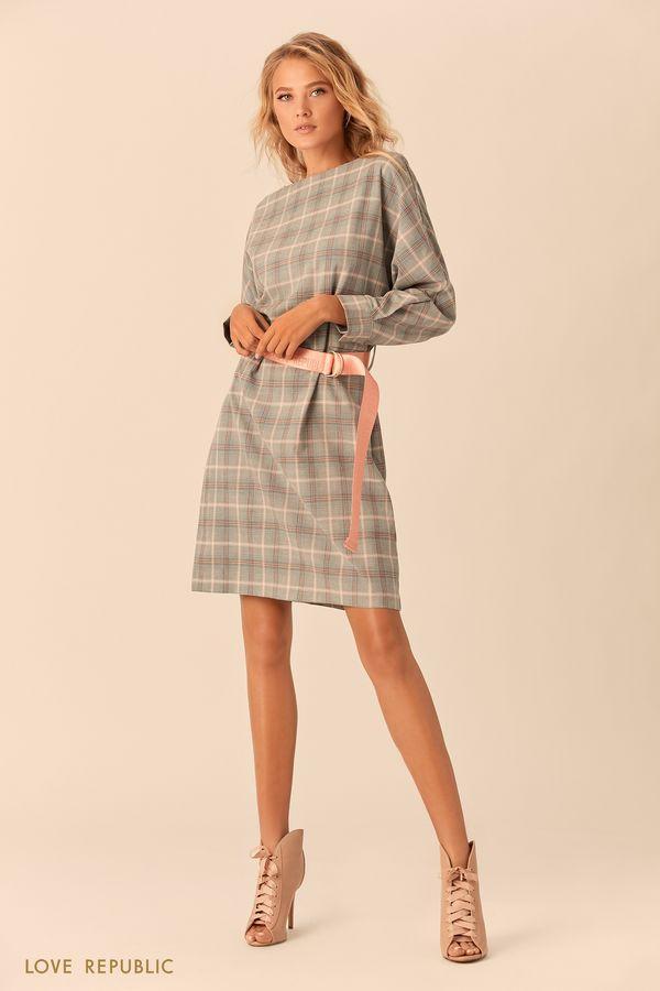 Платье с коралловым принтом и поясом в тон 01520810517-25